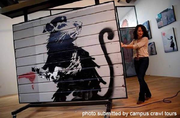 Banksy Haight Street Rat on display.