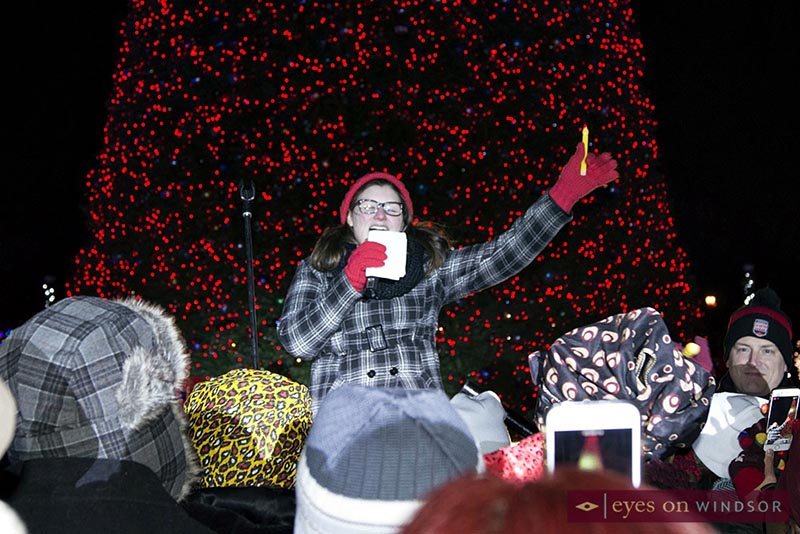 Emily Hayes sings during opening ceremony of Bright Lights Windsor.