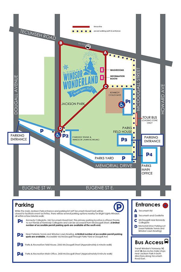 Bright Lights Windsor Parking Map