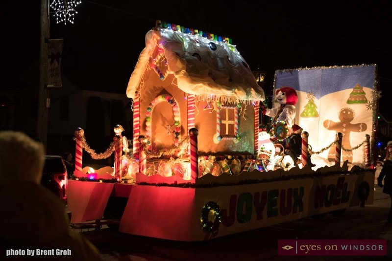Joyeaux Noel Float During Christmas in Tecumseh Parade