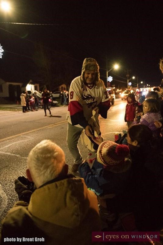 Tecumseh Eagles during Christmas in Tecumseh Parade.