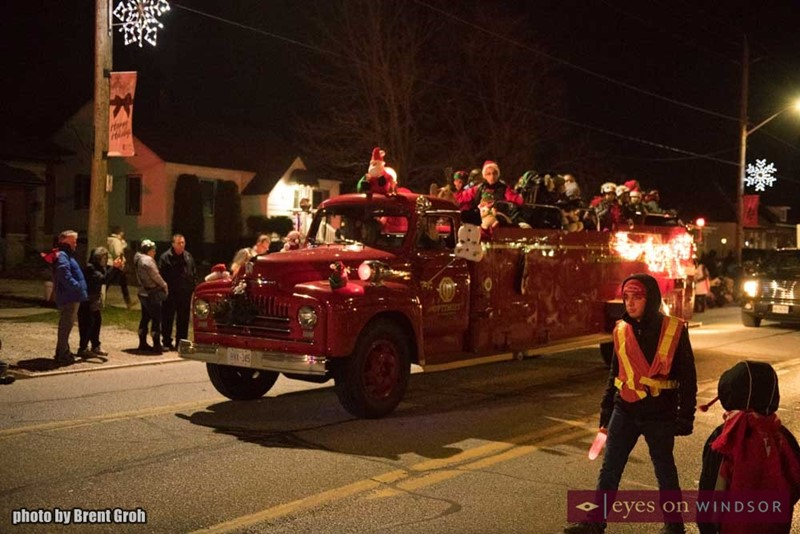 St. Clair Optimist Firetruck During Christmas in Tecumseh Parade.
