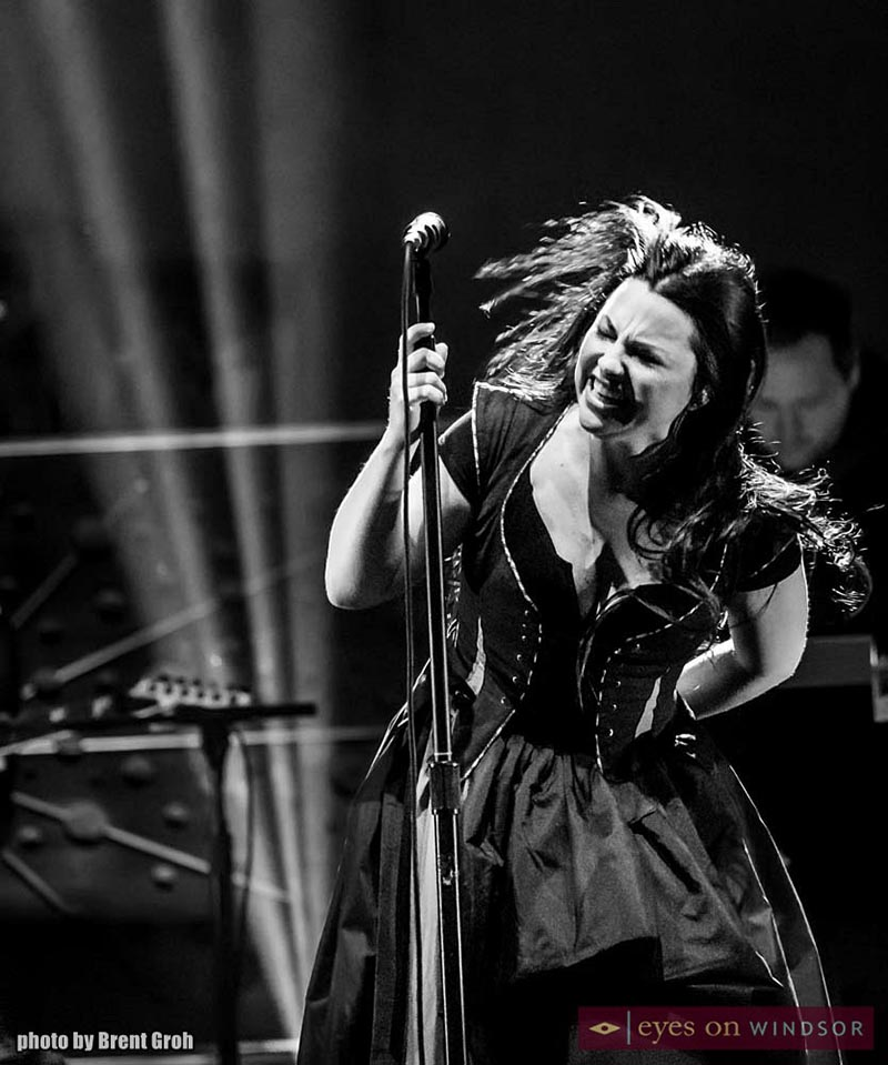 Black and white photo of Amy Lee performing during Evanescence concert at Caesars Windsor.