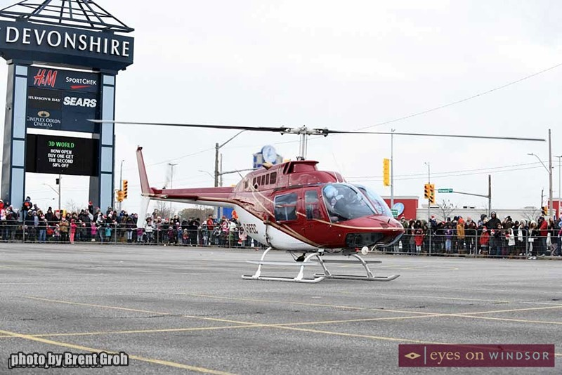 Helicopter Touching Down in Devonshire Mall Parking Lot With Santa & Mrs. Clause Inside.