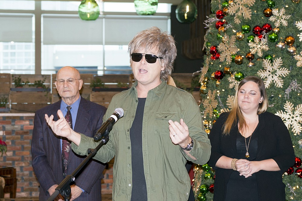 Jeff Burrows speaks during S'Aints Sleighing Hunger Concert Fundraiser check presentation at Caesars Windsor.