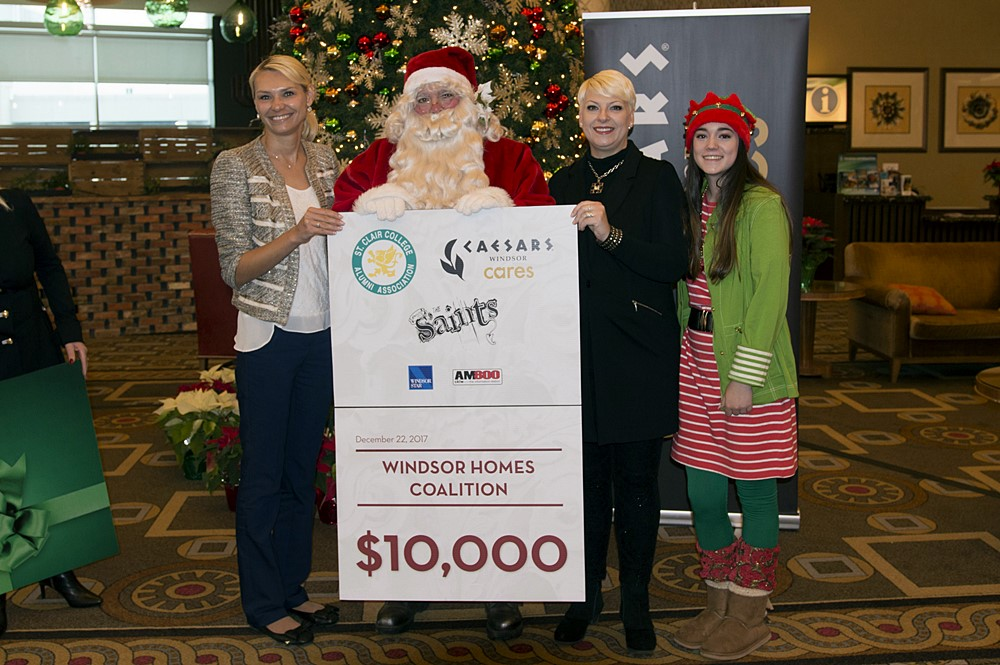 Santa Presenting Check To Windsor Homes Coalition at Caesars Windsor.