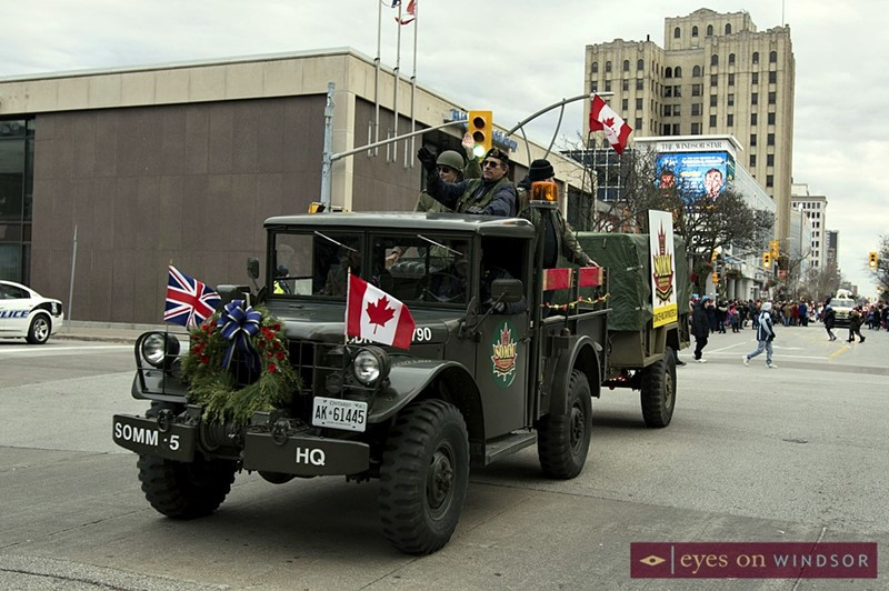 Southern Ontario Military Muster Vehicles During Windsor Winter Fest Parade