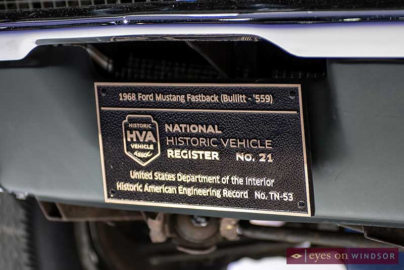 1968 Ford Mustang Fastback Bullitt Historic Plaque at NAIAS 2018