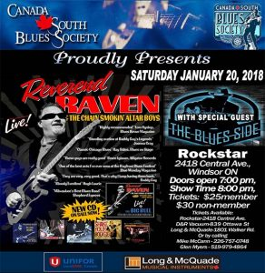 Canada South Blues Society Presents Reverend Raven Live in Windsor Poster