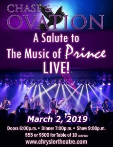 Chase & Ovation: A Salute To The Music of Prince & Dinner Show Poster Chrysler Theatre