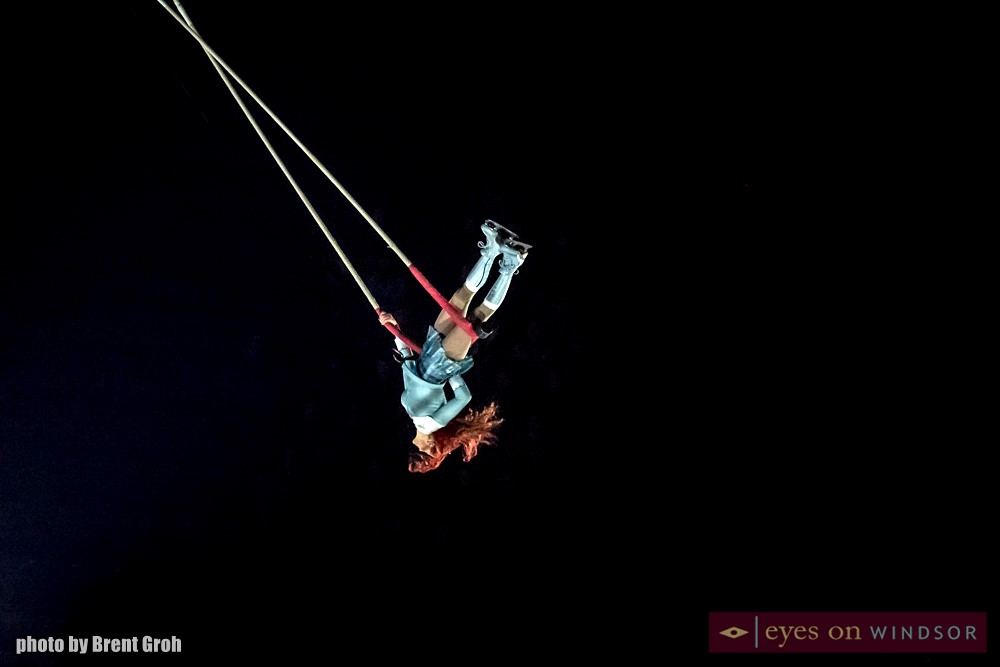 Danica Gagnon-Plamondon performs on the trapeze during Crystal by Cirque du Soleil at the WFCU Centre in Windsor, Ontario.