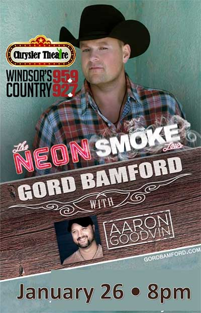 Neon Smoke Country Music Tour Featuring Gord Bamford, Windosr, Ontario, Poster