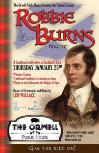 Robbie Burns Night at The Orwell Public House Poster