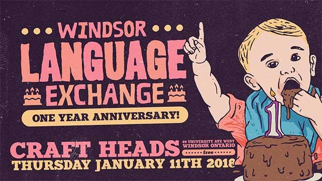 Windsor Language Exchange Anniversary Banner