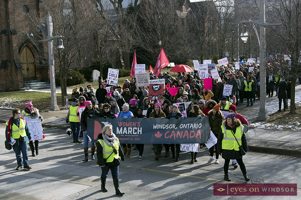 Hundreds leaving Charles Clark Square in downtown Windsor as the Women's March Canada Windsor rally proceeds onto to the streets.