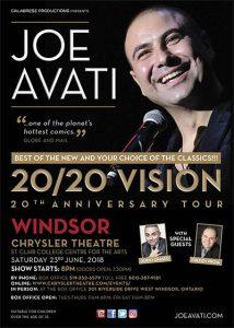 Joe Avati 20/20 Vision 20th Anniversary Comedy Tour Windsor Poster