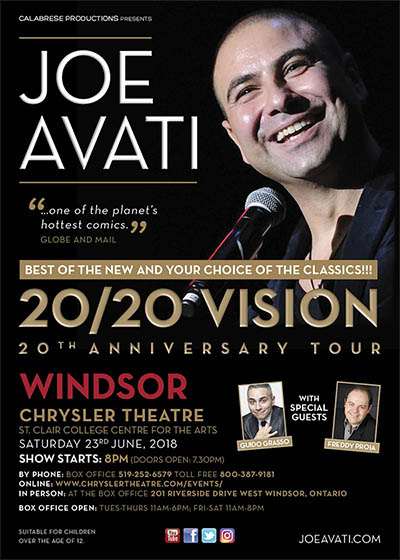 Joe Avati 20/20 Vision 20th Anniversary Comedy Tour Windsor Poster