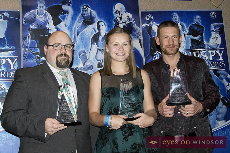2018 WESPY Athletes of The Year (Andrew Garant, Karlie Moore, and Lionel Sanders).