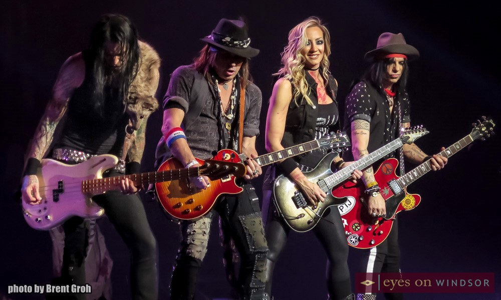 Alice Cooper Band Members Perform During Paranormal Tour Kickoff in Windsor, Ontario, at Caesars Windsor on March 1, 2018. From Left To Right, Chuck Garric (bass), Ryan Roxie (guitar), Nita Strauss (guitar) and Tommy Henriksen (guitar).