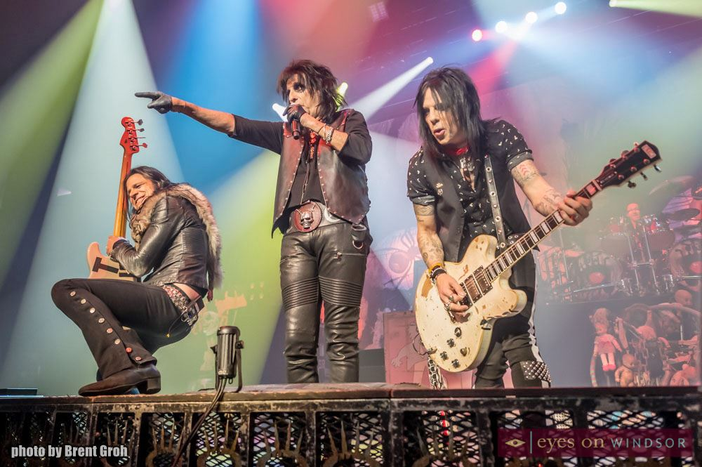 Alice Cooper Band Members Perform During Paranormal Tour Kickoff in Windsor, Ontario, at Caesars Windsor on March 1, 2018. From left to right, Chuck Garric (bass), Alice Cooper (lead singer), and Tommy Henriksen (guitar). Photo by Brent Groh / Eyes On Windsor.