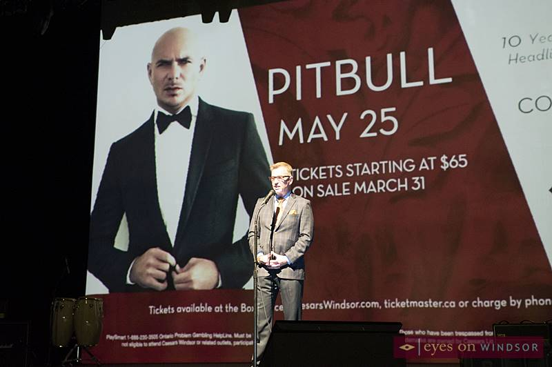 Tim Trombley, Director of Entertainment at Caesars Windsor on The Colosseum Stage Announcing Pitbull