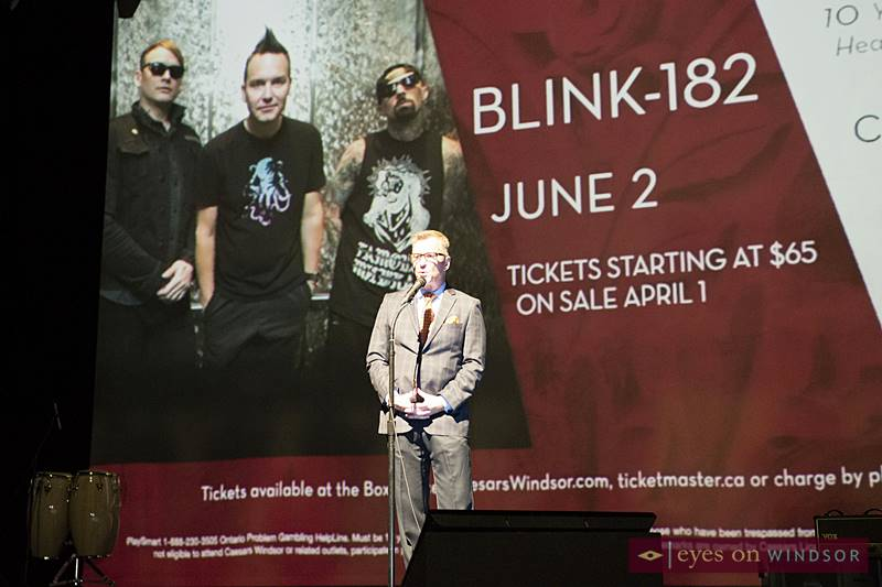 Tim Trombley, Director of Entertainment at Caesars Windsor on The Colosseum Stage announcing Blink-182