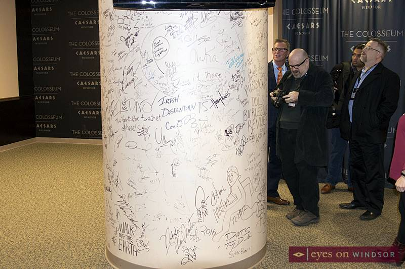 Pillar autographed by entertainers backstage at The Colosseum at Caesars Windsor.