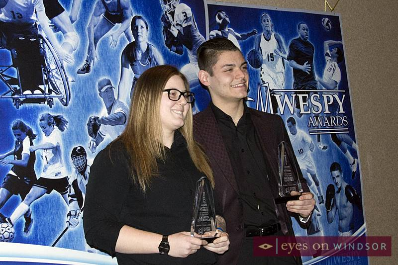 Ed Jovanovski Hockey WESPY Award winners Krystin Lawrence and Michael DiPietro