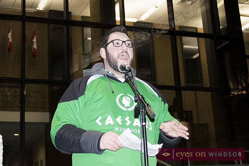 Caesars Windsor employee speaking to open Earth Hour celebrations at Charles Clark Square