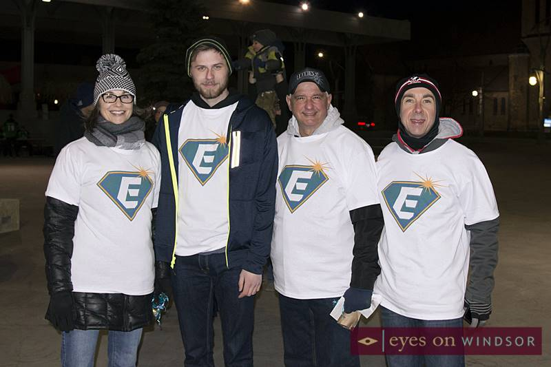 Enwin employees volunteering during Earth Hour at Charles Clark Square