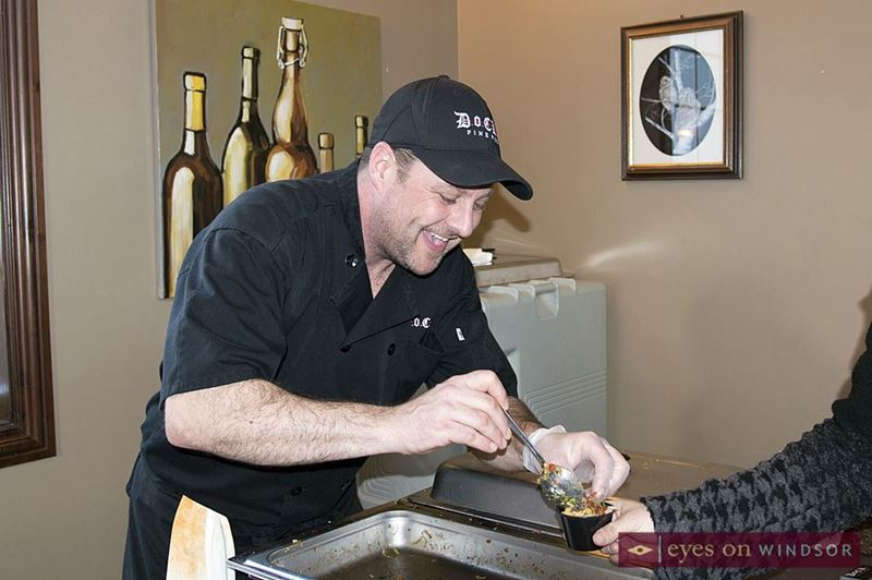 Willy Krahn from Dock 21 Fine Pub serves Taco Mac 'n Cheese at Sprucewood Shores Estate Winery