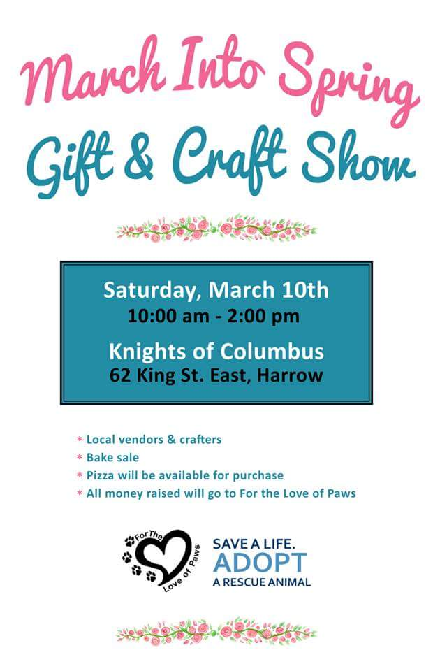 For The love of Paws March Into Spring Gift & Craft Show Poster