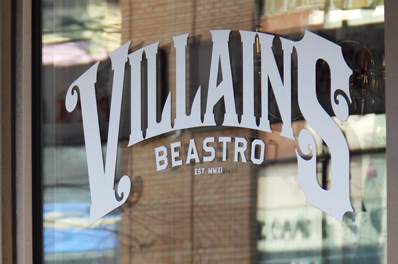 Villains Beastro Windsor outside front window.