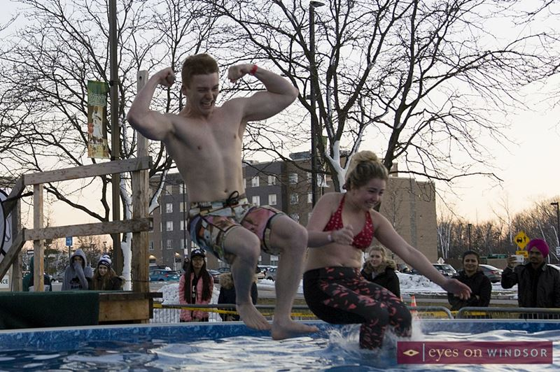 St. Clair College Students Taking the Windsor Polar Plunge.