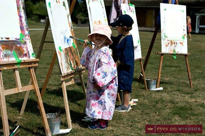 Young children enjoy painting during Amherstburg Art by the River, Little Artist Workshop