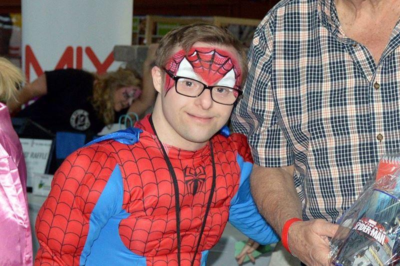 Andrew Banar dressed as Spiderman