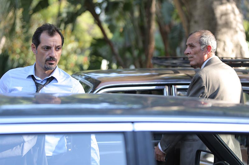 Key characters in The Insult, Lebanese Christian (Adel Karam) and Palestinian refugee (Kamel El Basha) shown in a scene from the movie.