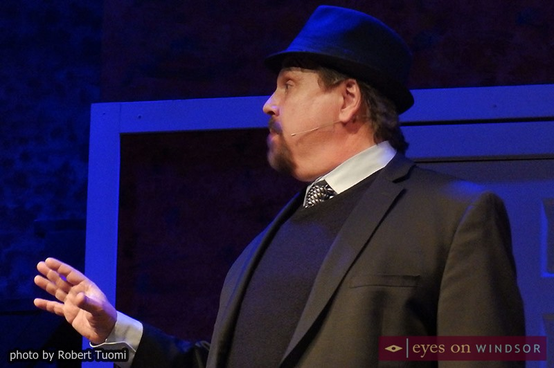 FBI Agent Carl Hanratty, played by producer Joseph Cardinal. makes a point during Catch Me If You Can dress rehearsal.