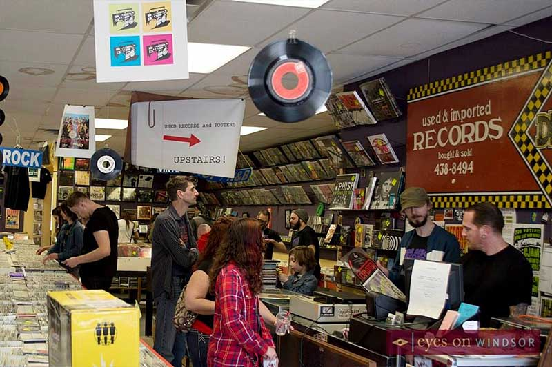 Customers shopping during Record Store Day at Dr. Disc Records