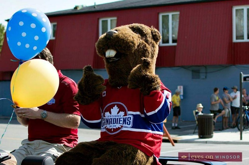 Lakeshore Canadiens mascot during Belle River Sunsplash Festival Parade.