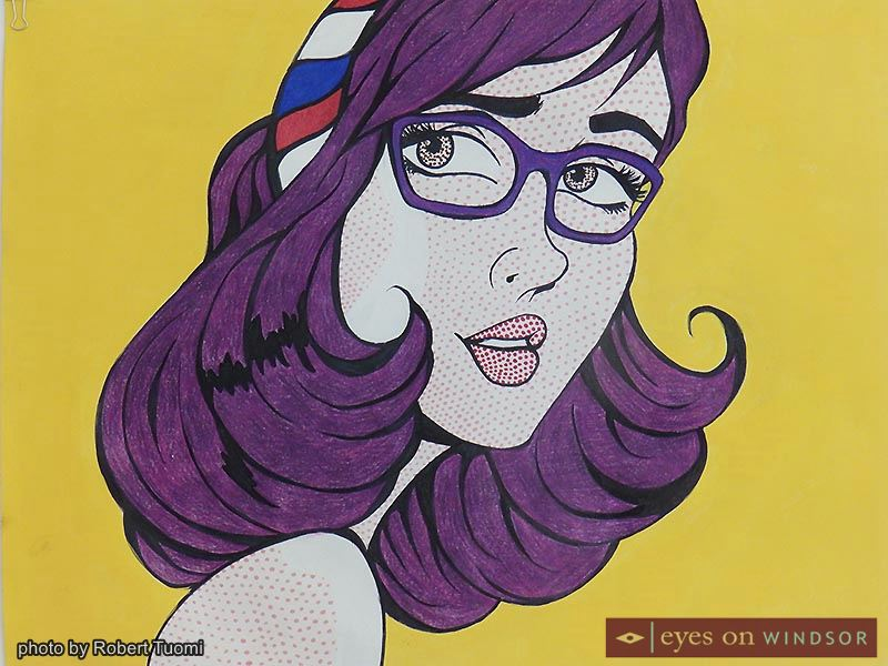 A classic cartoon style depicts an unknown woman, on display at Mackenzie Hall as part of Holy Names Catholic High School students 43 Diverse Dimensions art exhibit.