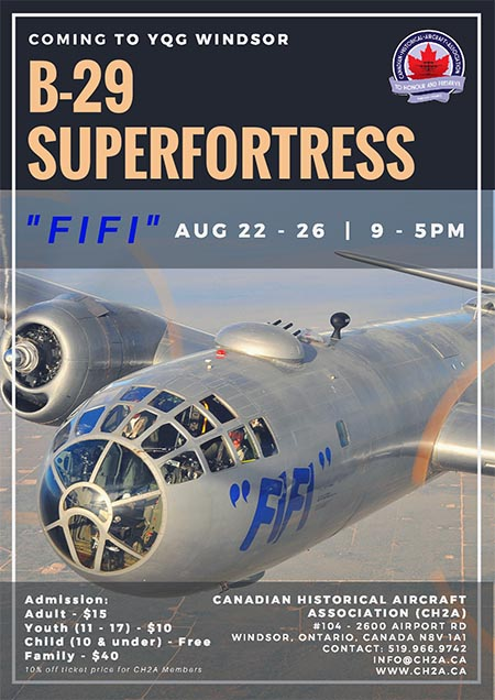 Commemorative Air Force (CAF) AirPower History Tour Stop in Windsor, Ontario, to feature B-29 Superfortress FIFI