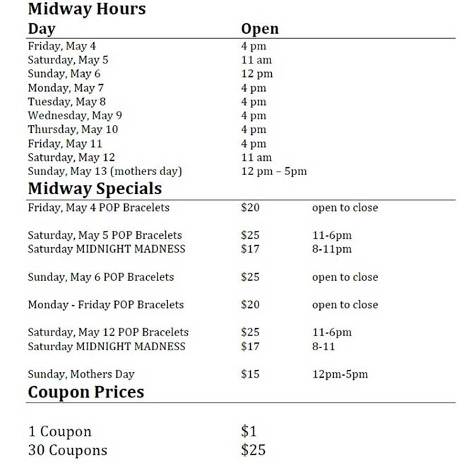 Carnival at Tecumseh Mall Midway Hours and Specials