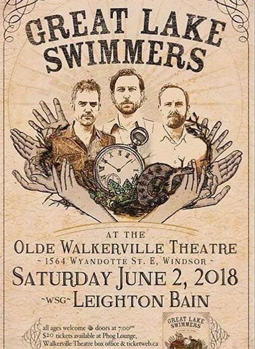Great Lake Swimmers with special guest Leighton Bain live at the Olde Walkerville Theatre, poster.