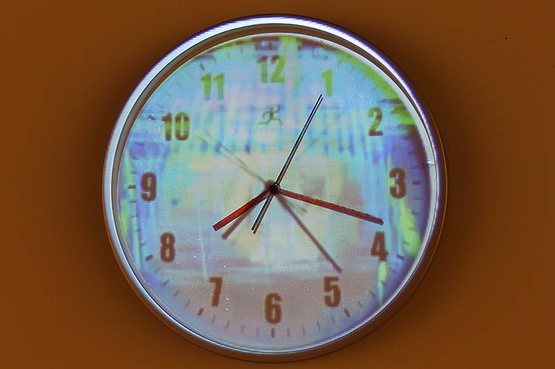 Jose Seoane clock on display during Time Room exhibit at the Noiseborder Festival.