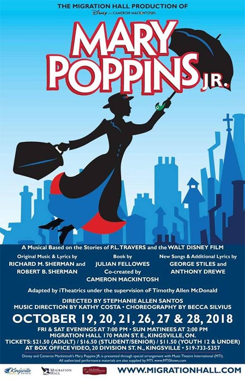 Poster: Migration Hall Productions presents Disney's Mary Poppins Jr.