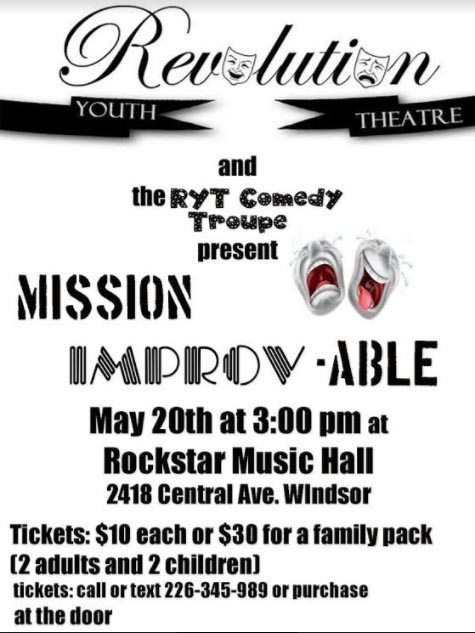 Mission IMPROV-able Windsor's Revolution Youth Theatre Fundraiser Poster