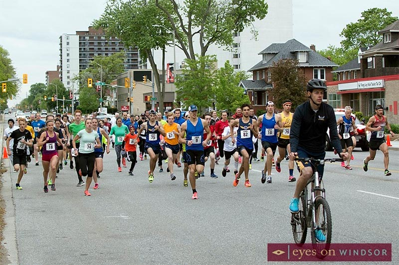 Participants of the inaugural Mission Mile Run, part of the University of Windsor Athletics Fest, leaving the starting line on Ouellette Avenue.