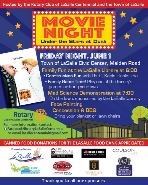 Rotary Club of LaSalle Movie Night Under the Stars Poster