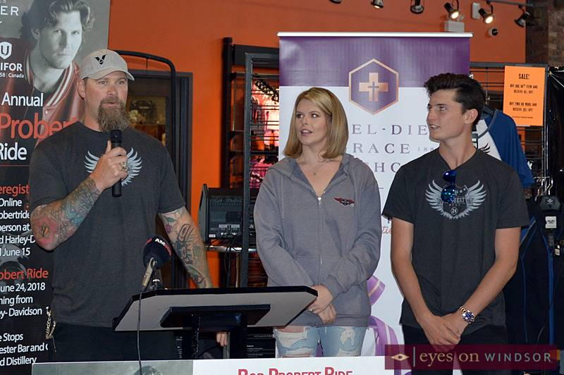 Scott Parker with Tierney and Jack Probert during a media conference announcing details of the 2018 Bob Probert Ride.